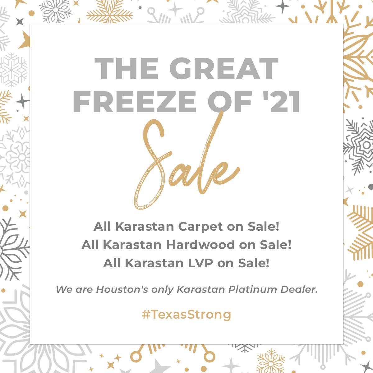 The Great Freeze of '21 Sale - All Karastan carpet, Hardwood & LVP on sale!