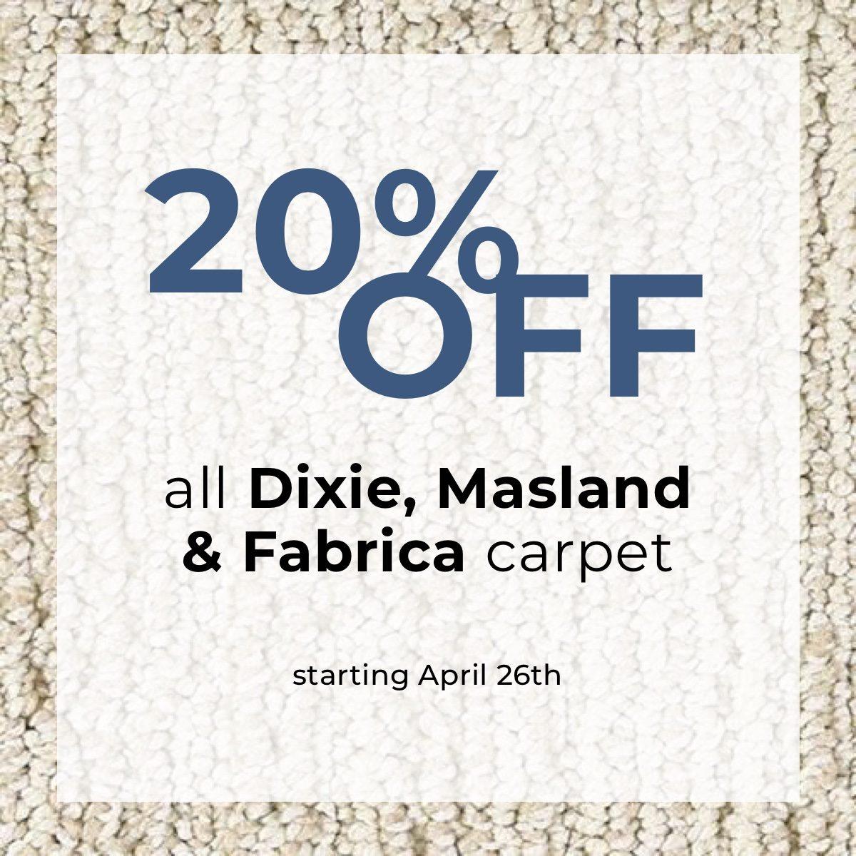 20 off dixie masland fabrica carpet